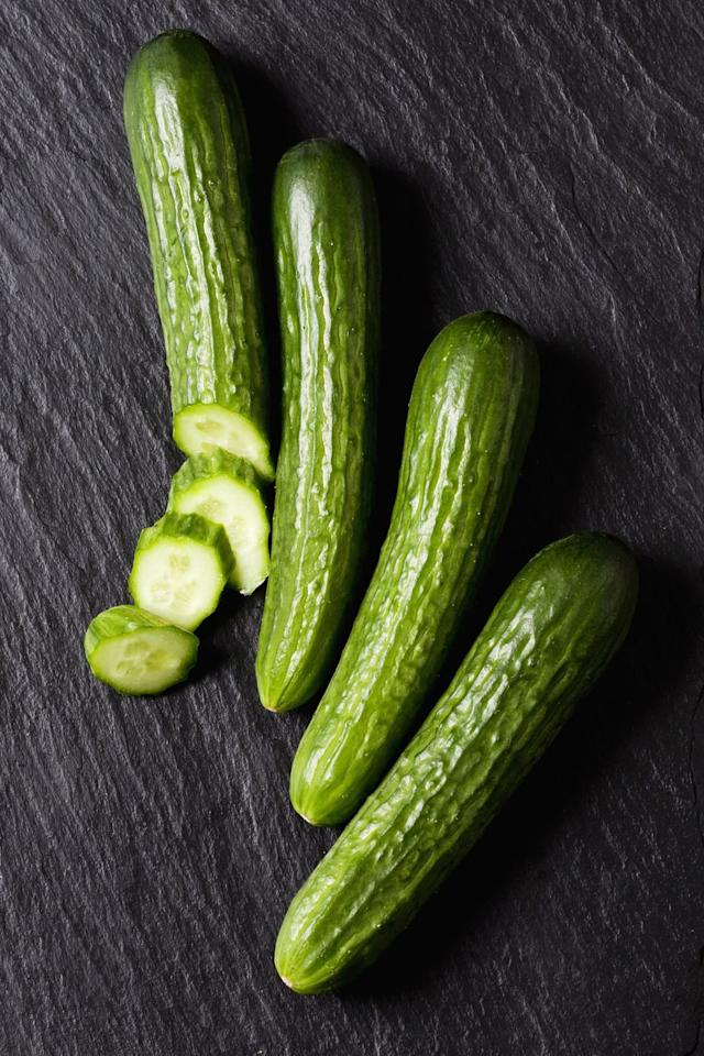 "<p>Since <a rel=""nofollow"" href=""https://www.womansday.com/food-recipes/food-drinks/g2373/vegetarian-recipes/"">cucumbers are low in calories</a> (there's only 16 per cup when you slice 'em!), loaded with water, and contain hearty fiber in the peel, eating some every day as a snack can keep you feeling full, making you less likely to eat foods that make the number on the scale creep up.</p>"