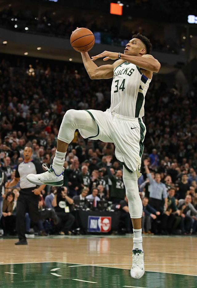 MILWAUKEE, WISCONSIN - MAY 08: Giannis Antetokounmpo #34 of the Milwaukee Bucks dunks against the Boston Celtics at Fiserv Forum on May 08, 2019 in Milwaukee, Wisconsin. The Bucks defeated the Celtics 116-91. (Photo by Jonathan Daniel/Getty Images)