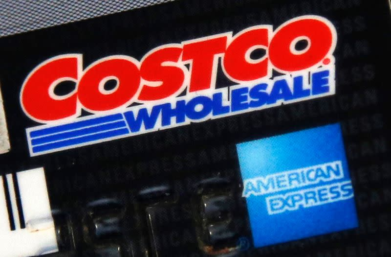 Photo of the rear of a Costco membership card /American Express credit card