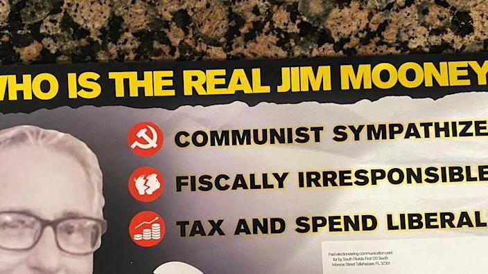 Several attack mailers like this one suggesting District 120 Republican state House candidate Jim Mooney may be a communist sympathizer were sent to voters the week of Aug. 7, 2020.