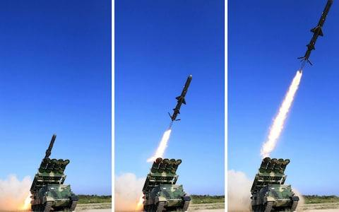 North Korea has tested a new-type of ground-to-sea cruise rocket - Credit: EPA