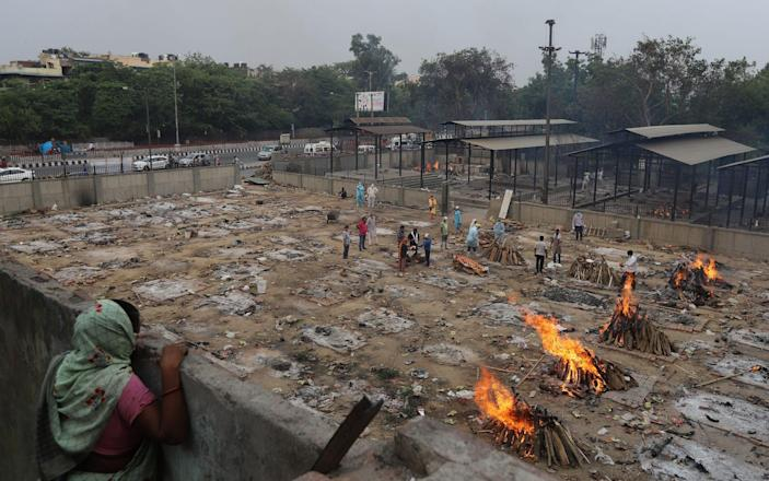 A woman watches multiple cremations in New Delhi - Amarjeet Kumar Singh/Anadolu Agency via Getty Images