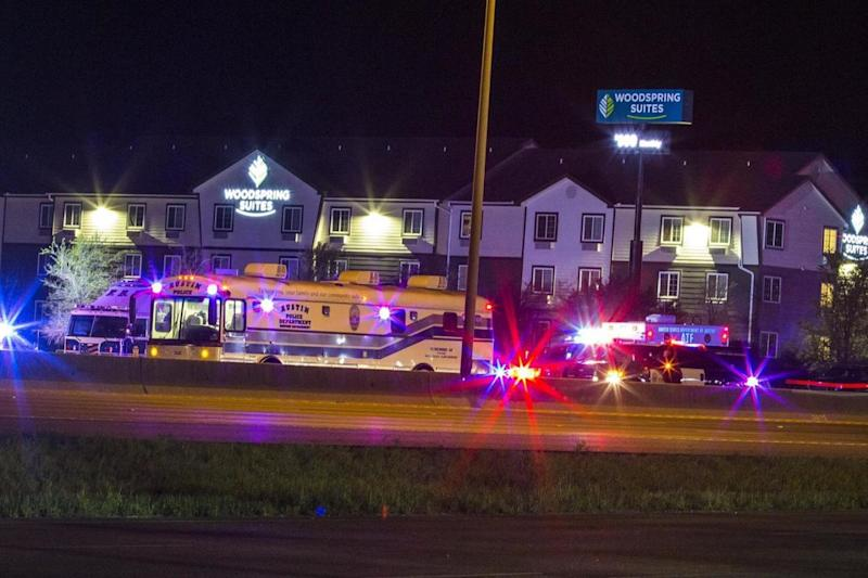 Emergency vehicles at the scene in Round Rock (EPA)