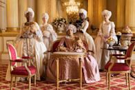 """<p>Fans of <a href=""""https://www.marieclaire.com/culture/g34670664/best-jane-austen-adaptations/"""" rel=""""nofollow noopener"""" target=""""_blank"""" data-ylk=""""slk:Jane Austen"""" class=""""link rapid-noclick-resp"""">Jane Austen</a>, <em>Downton Abbey</em>, <em>Gossip Girl</em>, and everything in between, lend me your ears. The time has come for you to stop watching <em>Pride and Prejudice</em> on repeat (I know, it's hard) and take a breather from your millionth <em>Gossip Girl</em> marathon to revel in what may well be the very steamy, extremely quick-witted period dramedy of your dreams: <em><a href=""""https://www.marieclaire.com/culture/a31018089/bridgerton-netflix-shonda-rhimes/"""" rel=""""nofollow noopener"""" target=""""_blank"""" data-ylk=""""slk:Bridgerton"""" class=""""link rapid-noclick-resp"""">Bridgerton</a></em>, Shonda Rhimes' first project as part of her jaw-dropping <a href=""""https://www.marieclaire.com/celebrity/a22506226/shonda-rhimes-netflix-eight-new-shows/"""" rel=""""nofollow noopener"""" target=""""_blank"""" data-ylk=""""slk:$150 million Netflix deal"""" class=""""link rapid-noclick-resp"""">$150 million Netflix deal</a>. The series is based on Julia Quinn's bestselling romance novels, with the first season, out Dec. 25, following the titular family's eldest daughter's quest for that rare love match that is both status-boosting and full of passion. <em>Bridgerton </em>basically combines all the best parts of period dramas—the dresses! the weirdly strict social rules!—and rom-coms—the meet-cutes! the falling in love with your pretend boyfriend! The story is set in the early 1800s but infused with a refreshingly modern take on gender roles, and is further enhanced by Rhimes' impeccable storytelling. Like I said, it's the period dramedy of your dreams. Here, get to know the cast of the show, from the social-climbing Featherington sisters to mysterious gossip columnist Lady Whistledown.  </p>"""