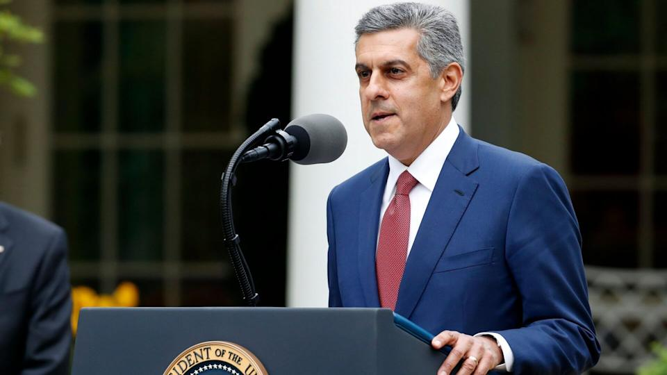 Mandatory Credit: Photo by Alex Brandon/AP/Shutterstock (10613234p)Sam Hazen, CEO of HCA Healthcare, speaks about the coronavirus in the Rose Garden of the White House, in WashingtonVirus Outbreak Trump, Washington, United States - 14 Apr 2020.