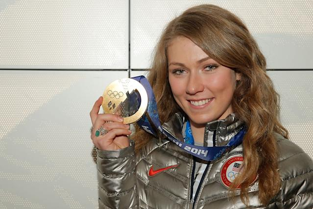 SOCHI, RUSSIA - FEBRUARY 22: U.S. Olympian Mikaela Shiffrin visits the USA House in the Olympic Village on February 22, 2014 in Sochi, Russia. (Photo by Joe Scarnici/Getty Images for USOC)
