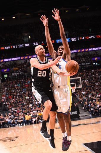 SAN ANTONIO, TX - APRIL 22: Manu Ginobili #20 of the San Antonio Spurs handles the ball against the Golden State Warriors in Game Four of Round One of the 2018 NBA Playoffs on April 22, 2018 at the AT&T Center in San Antonio, Texas
