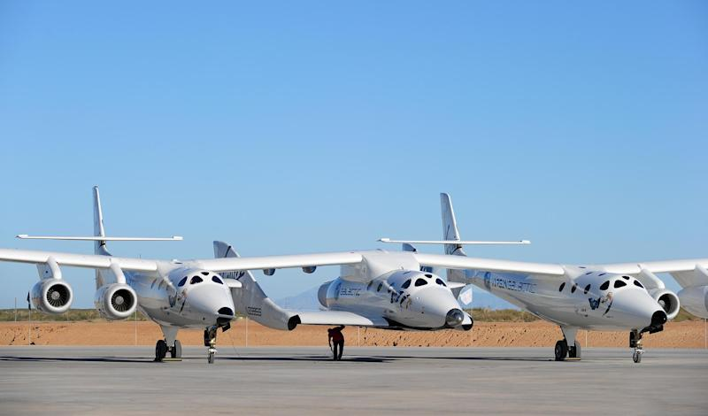A file picture shows the WhiteKnightTwo, which carries Richard Branson's SpaceShipTwo into high altitude, prior to a flight at Spaceport America, northeast of Truth Or Consequences, New Mexico