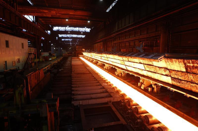 A steel slap is seen at a hot-rolled production at ThyssenKrupp Steel Europe AG in Duisburg