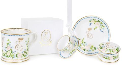 The official range of commemorative china to mark the wedding - Credit: Royal Collection Trust / PA