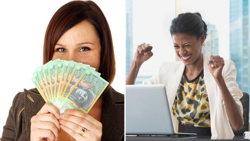 A woman holding a fan of $100 Australian notes on the left, and another woman celebrating in front of a notebook computer on the right.