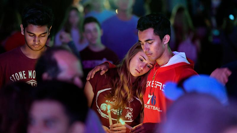 Thousands attend an interfaith service at Pine Trails Park in Parkland, Fla., to remember the 17 victims killed last year at Marjory Stoneman Douglas High School, on Thursday, Feb. 14, 2019. (Michael Laughlin/Sun Sentinel/TNS via Getty Images)