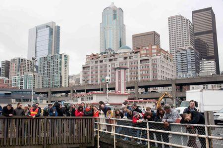 People gather to watch the carcass of a dead gray whale being removed from the Colman Ferry dock in Seattle, Washington, January 22, 2015. REUTERS/Matt Mills McKnight