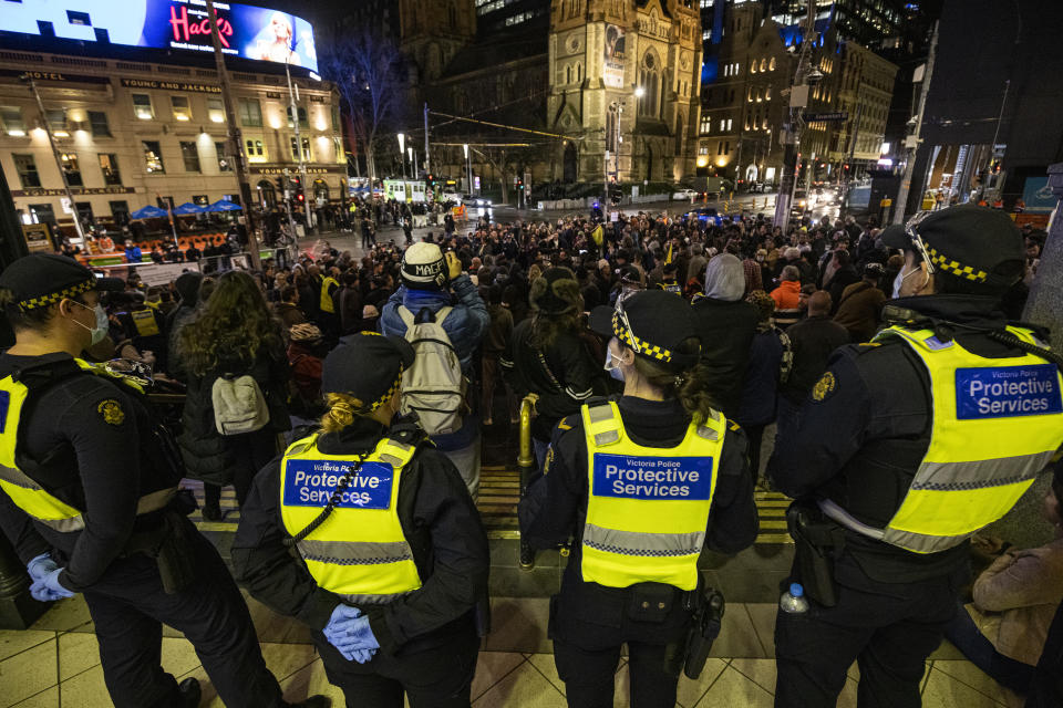 Protesters gathered at Flinders Street station. Source: AAP
