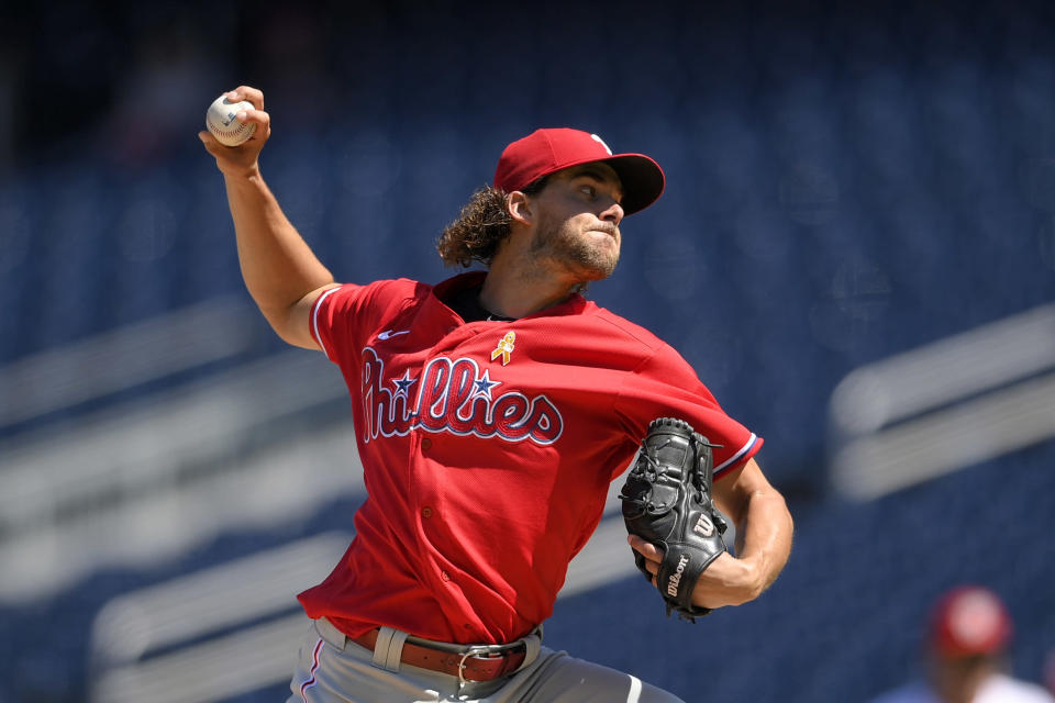 Philadelphia Phillies starting pitcher Aaron Nola delivers a pitch during the fourth inning of a baseball game against the Washington Nationals, Thursday, Sept. 2, 2021, in Washington. (AP Photo/Nick Wass)