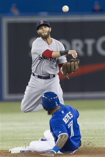 Boston Red Sox Dustin Pedroia throws to first base after forcing Toronto Blue Jays Jose Reyes at second during a double play in third inning AL baseball action in Toronto on Sunday April 7, 2013. (AP PHOTO/THE CANADIAN PRESS,Chris Young)
