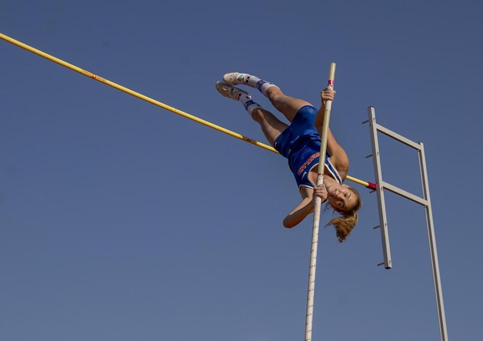 Paige Sommers of Westlake High clears 13 feet 9 inches to win the pole vault event at the Arcadia Invitational.