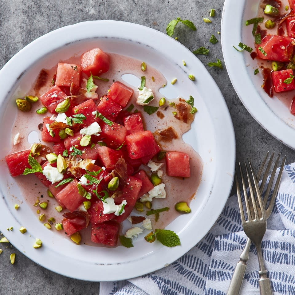 <p>Salty prosciutto, tangy feta, crunchy pistachios, sweet watermelon and bright mint come together wonderfully in this fresh and easy summer salad. Feel free to sub crumbled bacon for the prosciutto, or skip the meat altogether for a vegetarian version of this salad.</p>