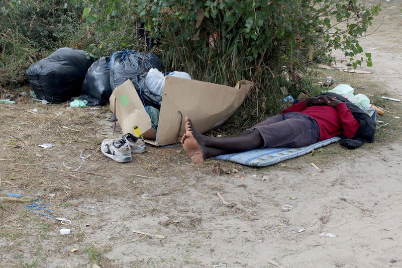 A makeshift migrant camp near the hospital in Calais