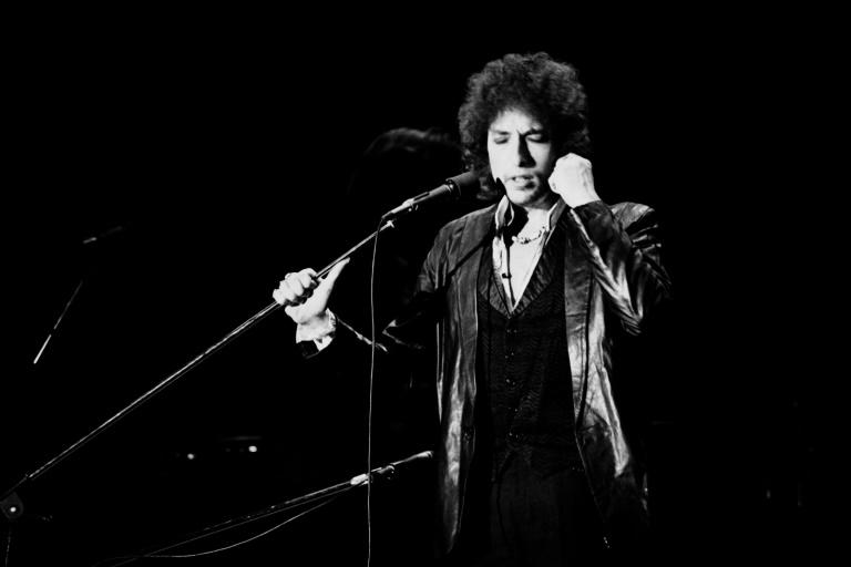Bob Dylan pictured at a concert in Paris in 1978