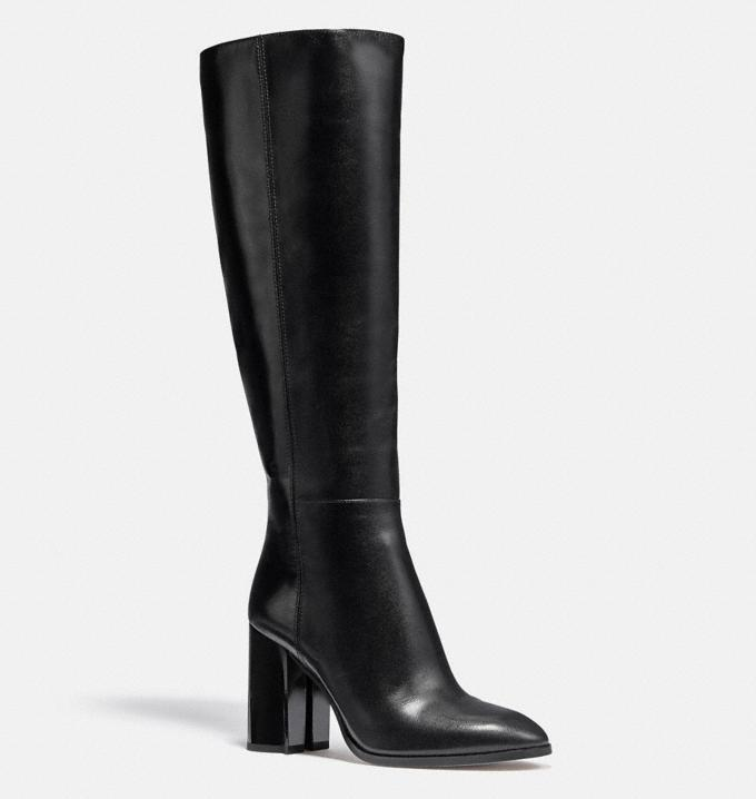 black boots, leather, knee high, coach