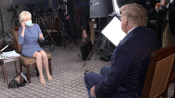 President Donald Trump and CBS correspondent Lesley Stahl appear during an interview for '60 Minutes'.