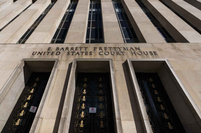 The entrance to the E. Barrett Prettyman United States Court House on Constitution Avenue NW, is seen, Friday, Oct. 9, 2020, in Washington. (AP Photo/Manuel Balce Ceneta)