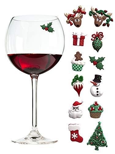 Christmas Holiday Magnetic Wine Glass Charms & Cocktail Markers Set of 12 - Great Christmas Hostess Gift or Stocking Stuffer (Amazon)