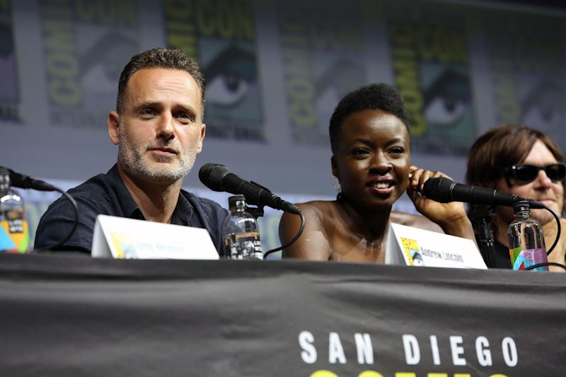 "Andrew Lincoln, Danai Gurira and Norman Reedus at SDCC ""Walking Dead"" panel. (Photo: Jesse Grant via Getty Images)"
