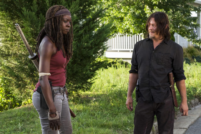 <p>Danai Gurira as Michonne, Norman Reedus as Daryl Dixon in AMC's <i>The Walking Dead</i>.<br>(Photo: Gene Page/AMC) </p>