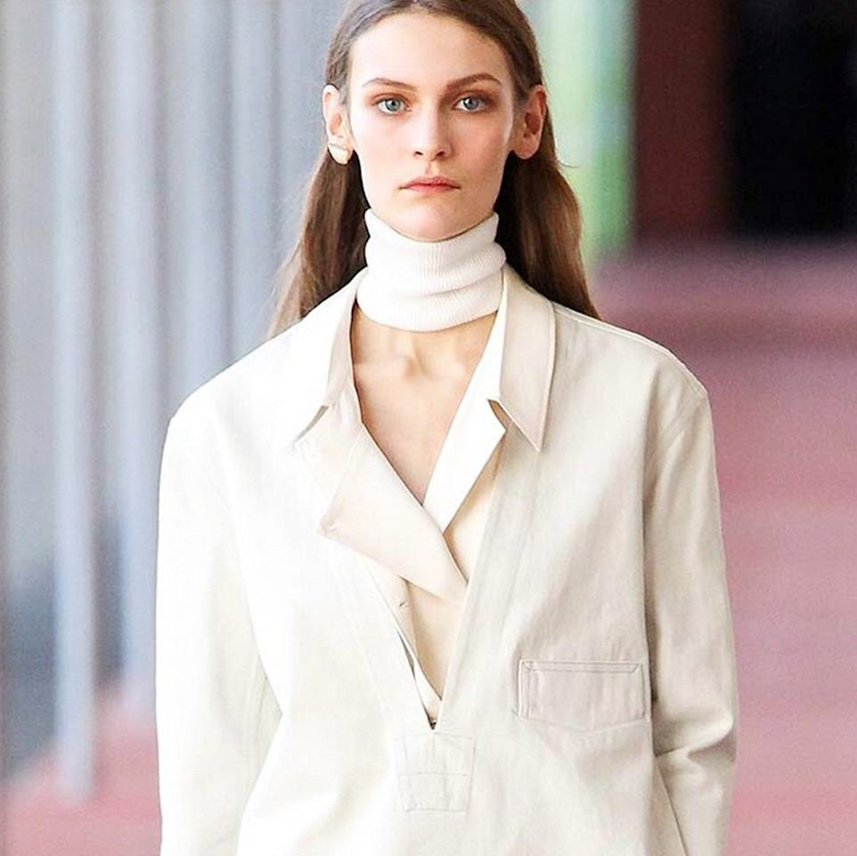 """<p>""""For a bit more of an androgynous look. It's paired down grown up chic. You'll find the perfect menswear-inspired blazer, the perfect navy V-neck. <a href=""""http://www.lemaire.fr/?gclid=CO_tnf2yrsgCFQXnwgod6oUB9w"""">Christoph Lemaire</a> is also the king of the sweater scarf! The good news is that his collection of <a href=""""https://www.yahoo.com/style/uniqlos-french-kiss-a-thon-142055100.html"""">similar, but less expensive pieces for Uniqlo</a> is in stores now."""" <i>Photo: <a href=""""https://instagram.com/christophe_lemaire/"""">Instagram/Christophe_Lemaire</a></i></p>"""