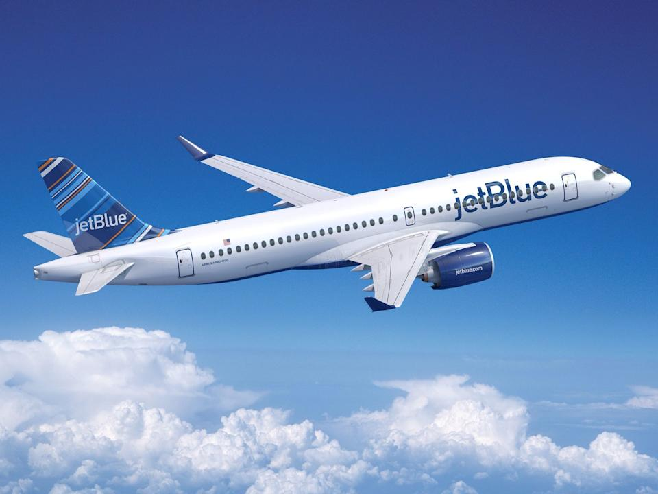 A JetBlue Airways Airbus A220 aircraft rendering.