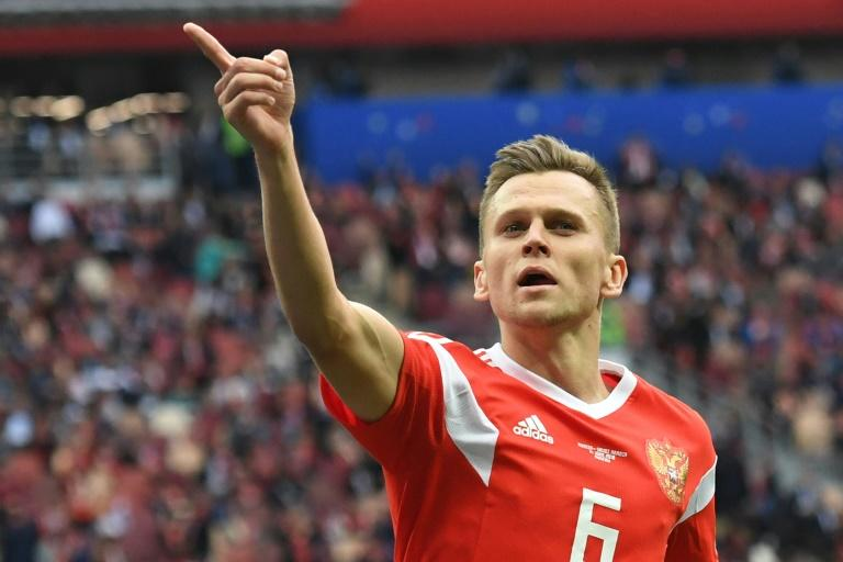 Midfielder Denis Cheryshev celebrates after scoring Russia's fourth goal against Saudi Arabia