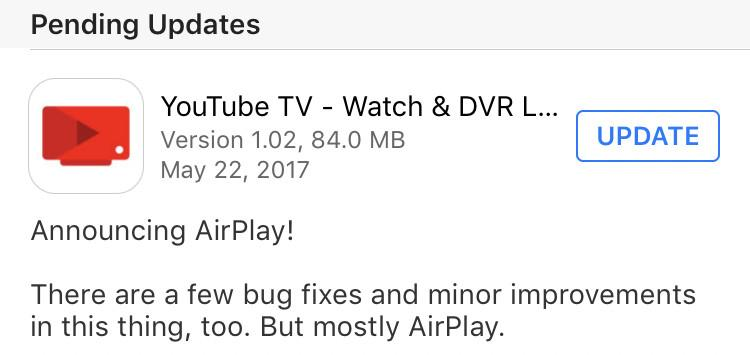 YouTube TV now supports AirPlay, so you can use it with your Apple TV