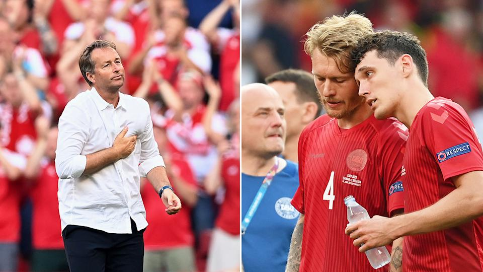 Seen here, Denmark's coach and players look downbeat after their loss to Belgium.