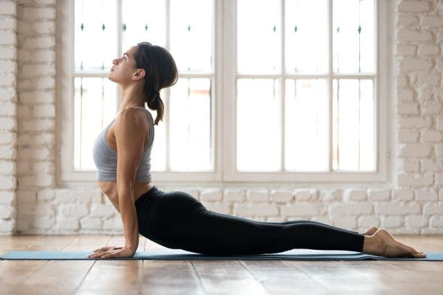 Young sporty woman practicing yoga, doing upward facing dog exercise