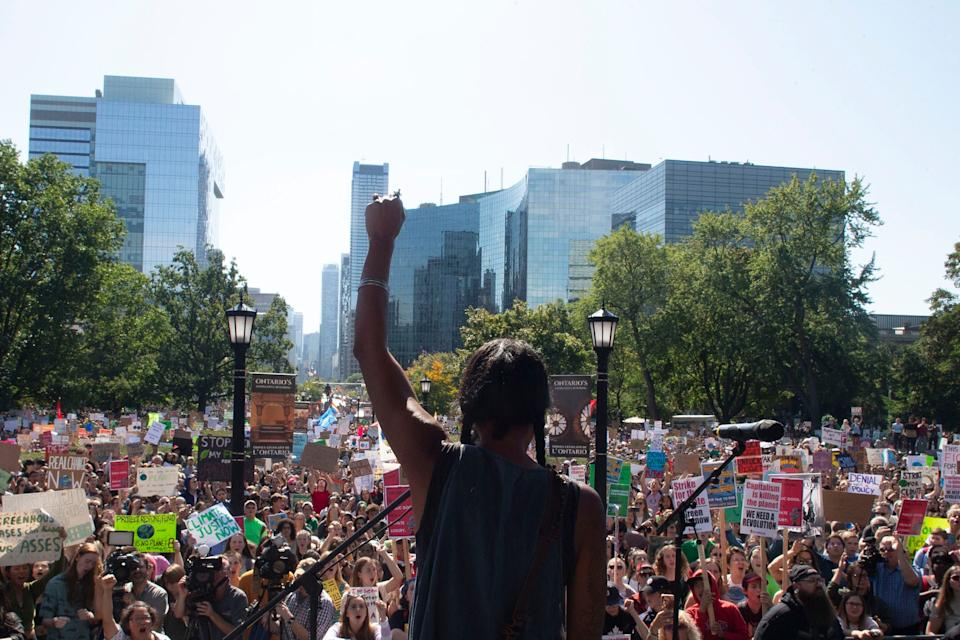 First Nations activist Caroline Crawley addresses the crowd as protesters gather outside the Ontario Legislature for the Climate Strike in Toronto on Sept. 27, 2019.  (Photo: Chris Young/THE CANADIAN PRESS)