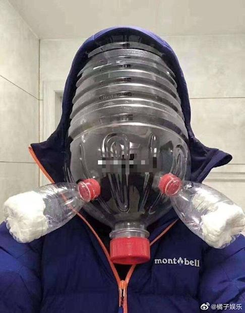 The makeshift gas masks are unlikely to prove effective. Photo: Weibo