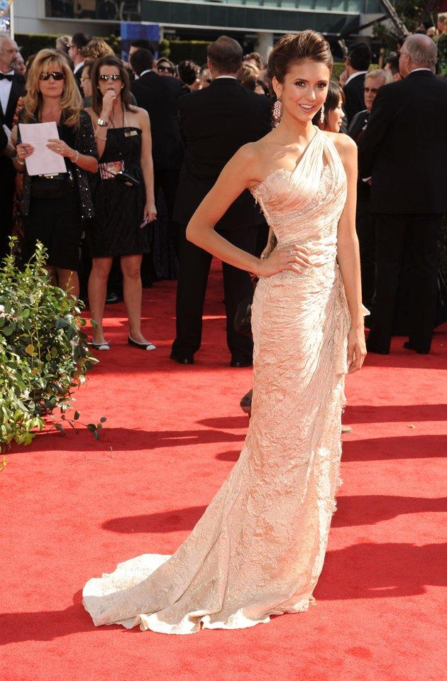 """BEST: """"Vampire Diaries"""" actress Nina Dobrev oozes old-Hollywood glamor in this silk Zuhair Murad gown at the 62nd Annual Primetime Emmy Awards in 2010. (Photo by Dan MacMedan/WireImage)"""