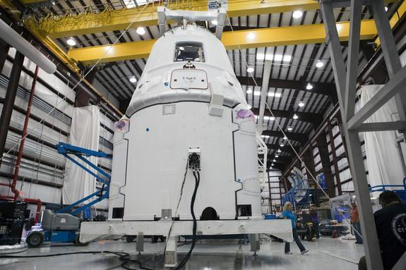 A Space Exploration Technologies, or SpaceX, Dragon spacecraft is being prepared for the company's first Commercial Resupply Services, or CRS-1, mission to the International Space Station. This image was taken Sept. 30, 2012.