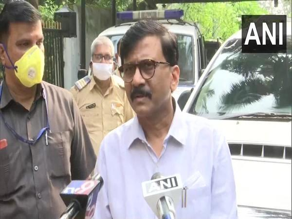 Shiv Sena leader Sanjay Raut talking to reporters on Tuesday. photo/ANI