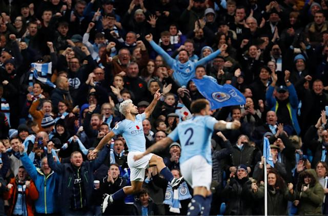 """Soccer Football - Premier League - Manchester City v Manchester United - Etihad Stadium, Manchester, Britain - November 11, 2018 Manchester City's Sergio Aguero celebrates scoring their second goal Action Images via Reuters/Jason Cairnduff EDITORIAL USE ONLY. No use with unauthorized audio, video, data, fixture lists, club/league logos or """"live"""" services. Online in-match use limited to 75 images, no video emulation. No use in betting, games or single club/league/player publications. Please contact your account representative for further details. TPX IMAGES OF THE DAY"""