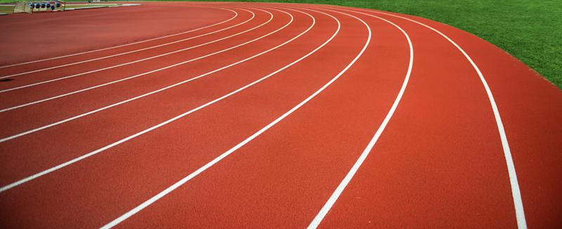 Stadium red plastic track