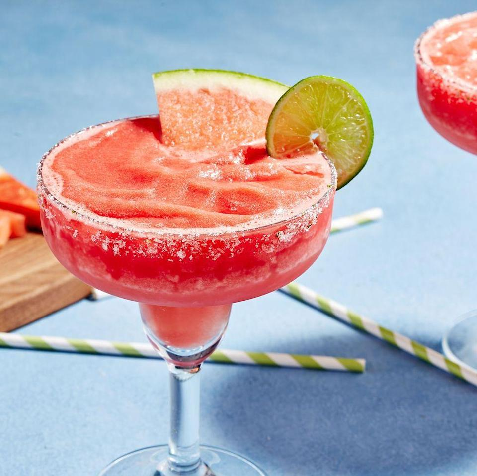 <p>This recipe requires a little forethought. Chop up some fresh watermelon and throw it in the freezer the night before you make the margs—this ensures the drinks are perfectly slushy and ICE cold. (If you forgot, don't fret! Two hours in the freezer should do the trick.)</p><p>Get the Frozen Watermelon Margaritas recipe.</p>