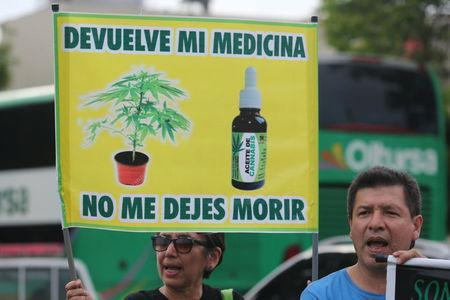 "People participate in a protest in favour of the legalization of medical marijuana outside the Interior Ministry in Lima, Peru March 1, 2017. The sign reads: ""Give me back my medicine, do not let me die"". Picture taken March 1, 2017. REUTERS/Guadalupe Pardo"