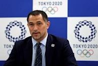 Tokyo 2020 Olympic and Paralympic organising committee Sports Director Koji Murofushi attends a news conference on the water quality survey for an Olympics venue, in Tokyo, Japan October 4, 2017. REUTERS/Issei Kato
