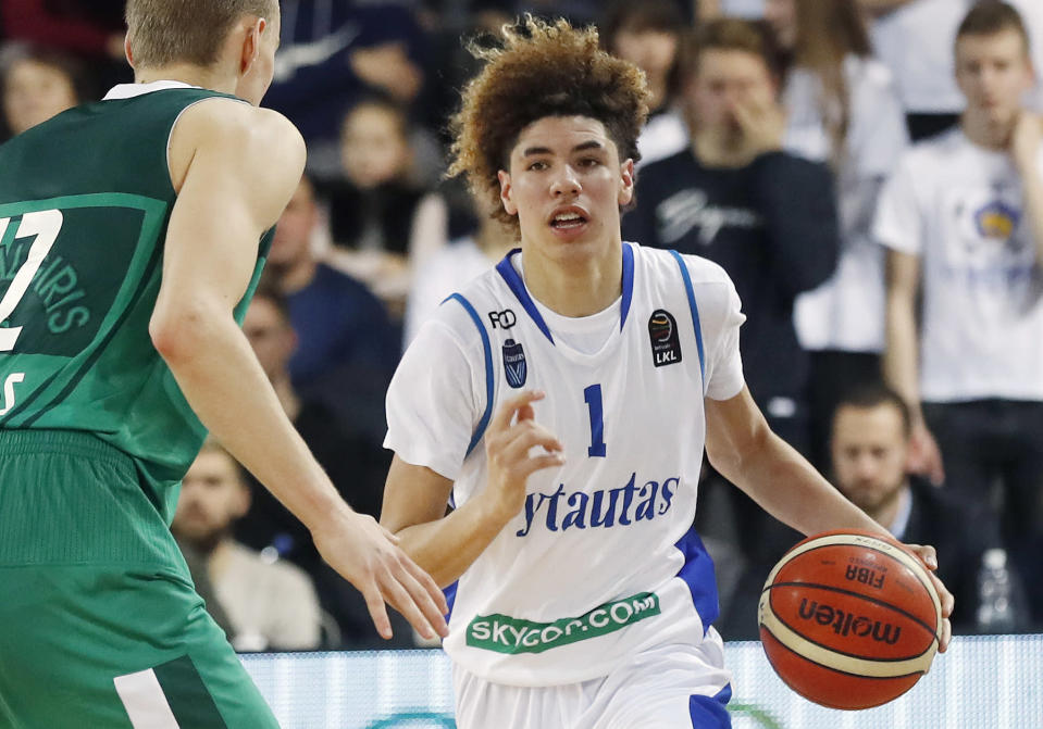 LaMelo Ball was a five-star prospect before he left high school to play for a professional team in Lithuania. (AP Photo)