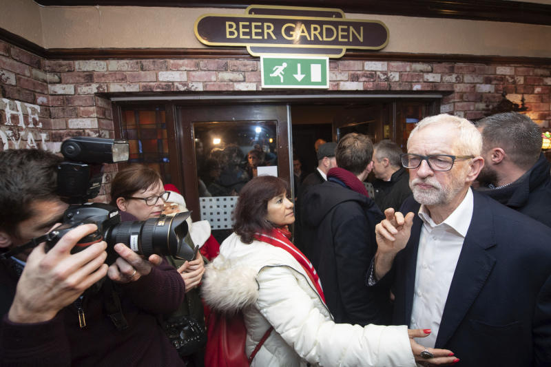The exit poll has made grim reading for Jeremy Corbyn. (Joe Giddens/PA via AP)