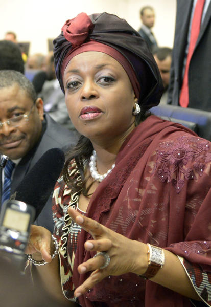 Nigeria's Minister of Petroleum Resources Diezani Alison-Madueke talks to journalists prior to the start of a meeting of the Organization of the Petroleum Exporting Countries, OPEC, at their headquarters in Vienna, Austria, Friday, May. 31, 2013. (AP Photo/Hans Punz)