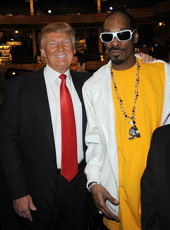 """Although Trump managed to get in a zinger of his own during the roast aimed at Snoop Dogg saying he """"personally ended the East Coast/West Coast rap feud by becoming totally irrelevant,"""" the rapper still agreed to a friendly photo op. Jeff Kravitz/<a href=""""http://www.filmmagic.com/"""" target=""""new"""">FilmMagic.com</a> - March 9, 2011"""